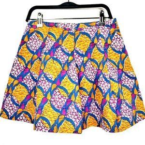 ZARA Trafaluc Abstract Geometric  Flare Skirt